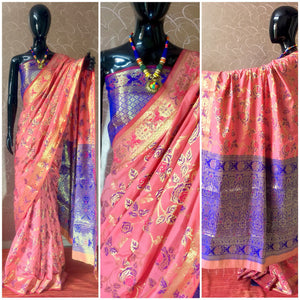 Tonys Pink Banarasi Silk  Saree with Blouse