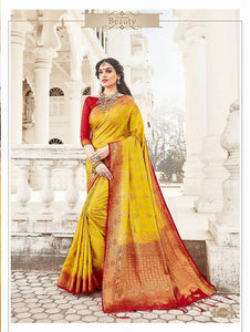 Golden Dream Banarasi Silk  Saree with Blouse