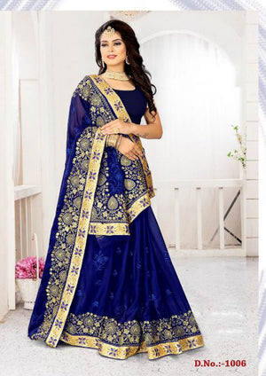 Blue Zodiac Chiffon Sahi with Blouse