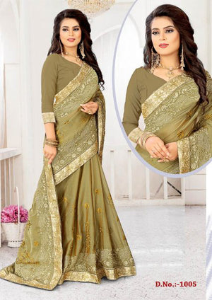Green Smoke Chiffon Sahi with Blouse