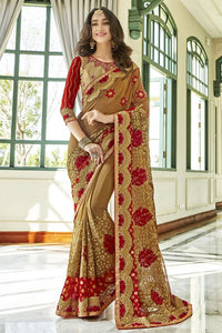 Roof Terracotta Georgette Silk  Saree with Blouse
