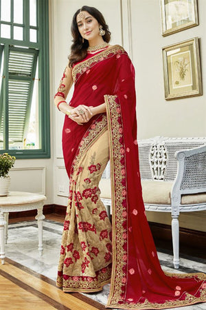 Apple Blossom Georgette Silk  Saree with Blouse