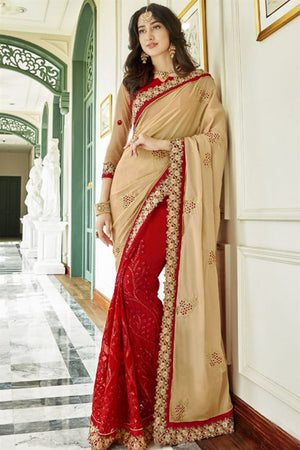 Tall Poppy Georgette Silk  Saree with Blouse