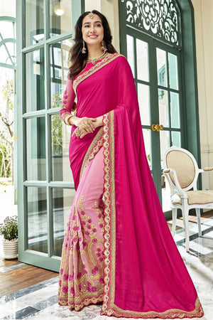 Careys Pink Georgette Silk  Saree with Blouse