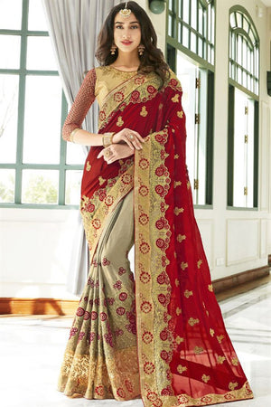 Teak Georgette Silk  Saree with Blouse