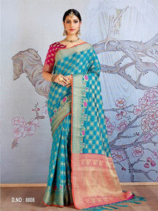 Blue Chill Jacquard Silk  Saree with Blouse