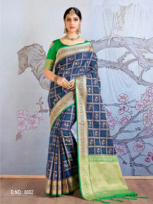 Cello Jacquard Silk  Saree with Blouse