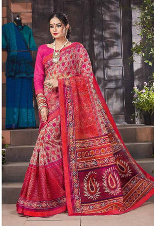Hippie Pink Kalamkari Net Cotton  Saree with Blouse