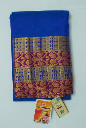 Smalt Kanchipuram Handloom Plain Emboss Pure Silk Saree with Blouse