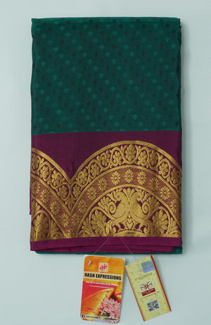 Deep Teal Kanchipuram Handloom Plain Emboss Pure Silk Saree with Blouse