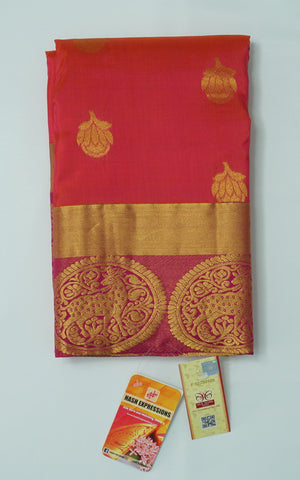 Well Read Kanchipuram Handloom Plain Emboss Pure Silk Saree with Blouse