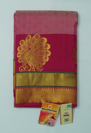 Copper Rust Kanchipuram Handloom Plain Emboss Pure Silk Saree with Blouse