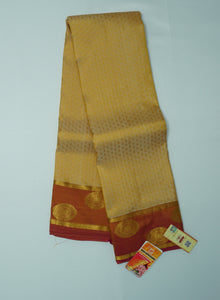 Luxor Gold Kanchipuram Handloom Plain Emboss Pure Silk Saree with Blouse