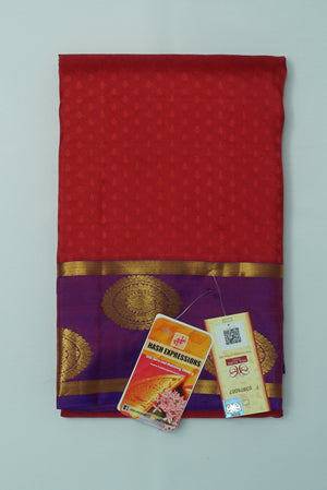 Old Brick Kanchipuram Handloom Plain Emboss Pure Silk Saree with Blouse