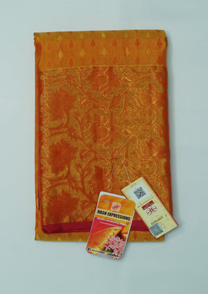 Hawaiian Tan Kanchipuram Handloom Plain Emboss Pure Silk Saree with Blouse