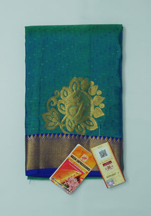 Deep Sea Green Kanchipuram Handloom Plain Emboss Pure Silk Saree with Blouse
