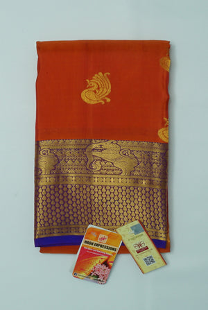Tabasco Kanchipuram Handloom Butta Emboss Pure Silk Saree with Blouse