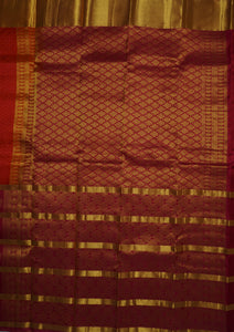 Merlot Kanchipuram Handloom Butta Emboss Pure Silk Saree with Blouse