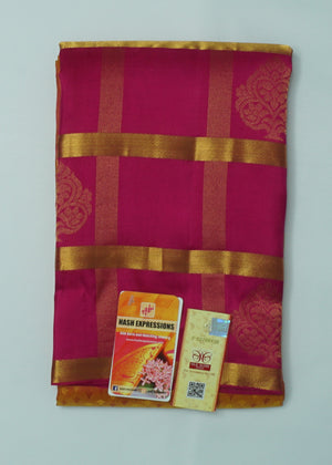 Prairie Sand Kanchipuram Handloom Butta Emboss Pure Silk Saree with Blouse