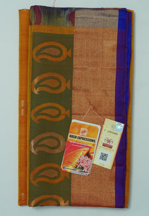 Hawaiian Tan Kanchipuram Handloom Soft Pure Silk Saree with Blouse