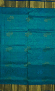 Blue Lagoon Kanchipuram Handloom Soft Emboss Pure Silk Saree with Blouse