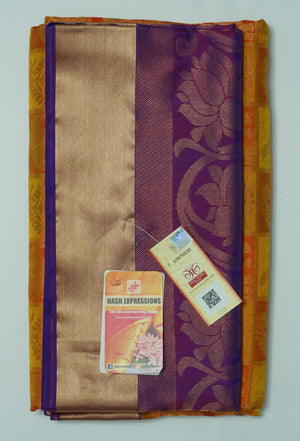 Rusty Nail Kanchipuram Handloom Soft Emboss Pure Silk Saree with Blouse