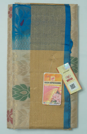 Olive Haze Kanchipuram Handloom Soft Emboss Pure Silk Saree with Blouse