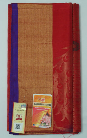 Old Brick Kanchipuram Handloom Soft Emboss Pure Silk Saree with Blouse