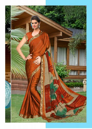 Cognac Half and Half Silk  Saree with Blouse
