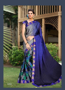 Big Stone Half and Half Silk  Saree with Blouse