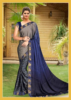 Nile Blue Half and Half Silk  Saree with Blouse