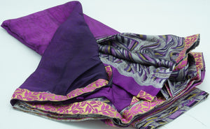 Vivid Violet Half and Half Silk  Saree with Blouse