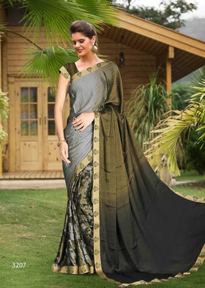 Log Cabin Half and Half Silk  Saree with Blouse