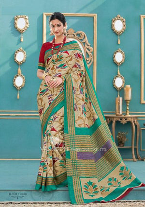 Thistle Green Tussar Silk  with Blouse
