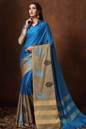 Steel Blue Tussar Silk Cotton with Blouse