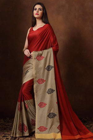 Burnt Umber Tussar Silk Cotton with Blouse