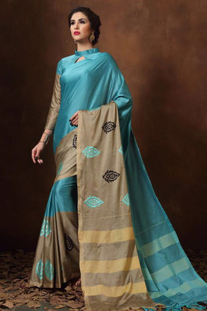 Fountain Blue Tussar Silk Cotton with Blouse