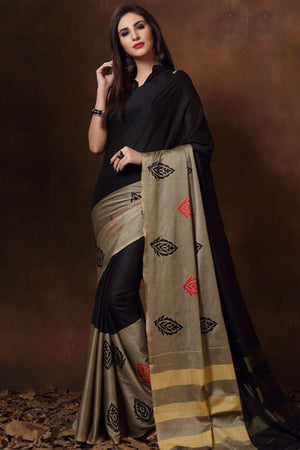 Heavy Metal Tussar Silk Cotton with Blouse