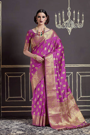 Vivid Violet Silk Zari  Saree with Blouse