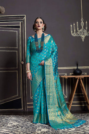 Eastern Blue Silk Zari  Saree with Blouse
