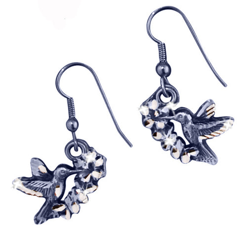 Hummingbird Flower Earrings