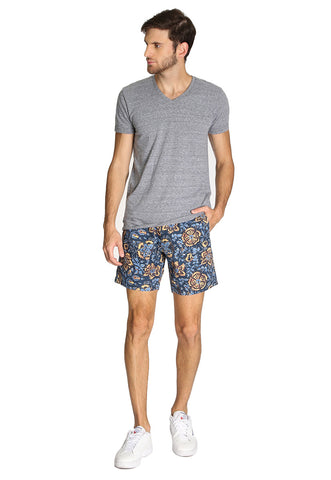 Short Azul Marino Floral Stretch