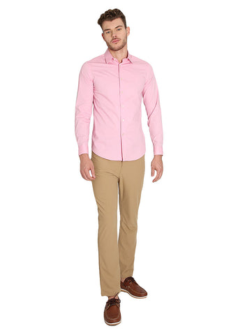 Camisa Fitted Rosa Manga Larga