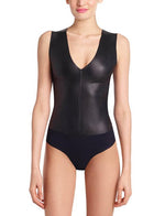 Commando Faux Leather V Neck Bodysuit BDS014