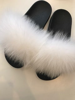 From Head to Hose White Fox Fur Slides