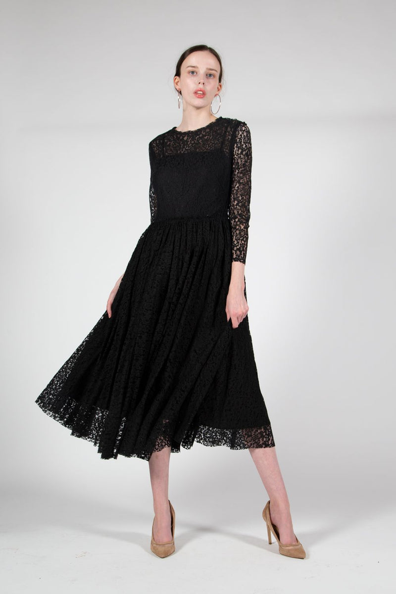 Beulah Midi Dress with Lace Design