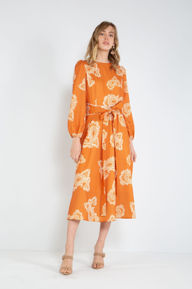 Beulah Midi Dress with Long Puffy Sleeves
