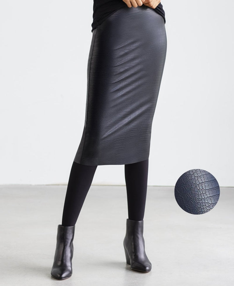 Commando Faux Leather Croc Midi Skirt SK16