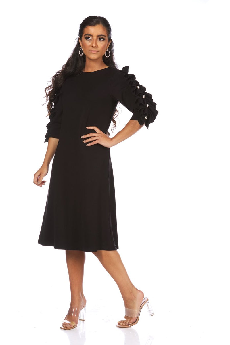 Bella Donna Removable Ruffle Dress with Pearl Buttons