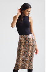 Commando Faux Leather Animal Print Midi Skirt SK16